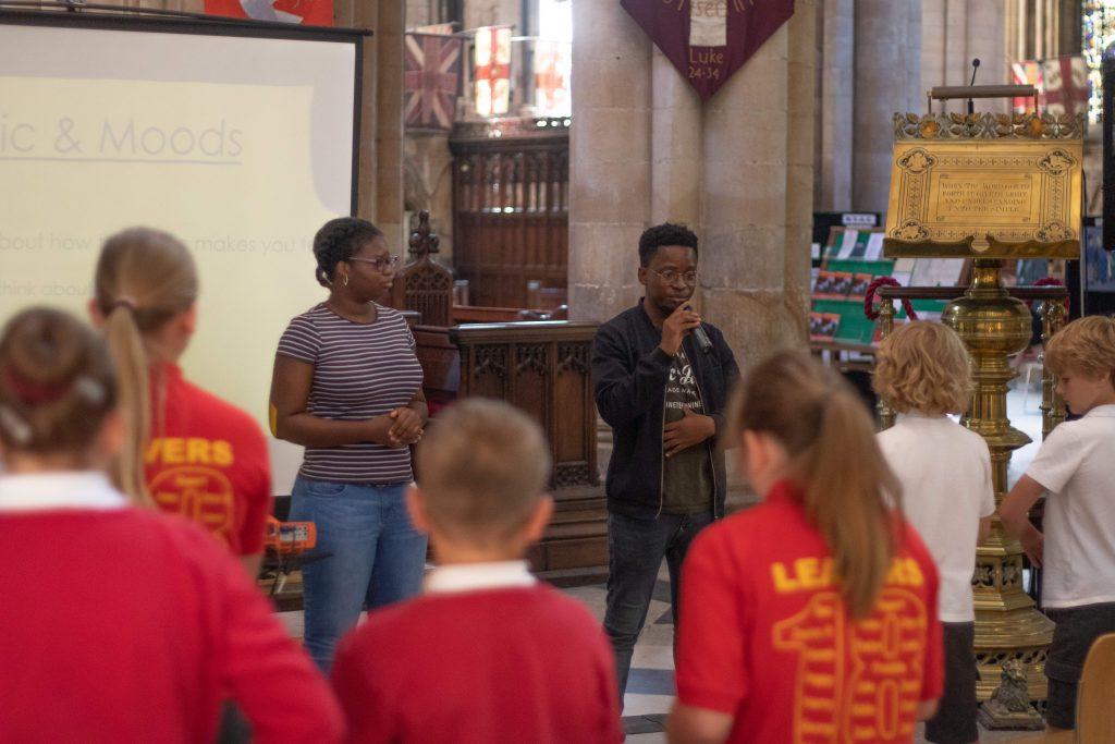 Schools team teaching school children in Beverley Minster