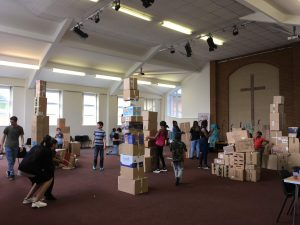 Cardboard towers at Bourne Street Holiday Club